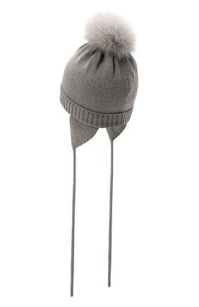 Детского шерстяная шапка с меховой отделкой CATYA серого цвета, арт. 125562/A | Фото 2