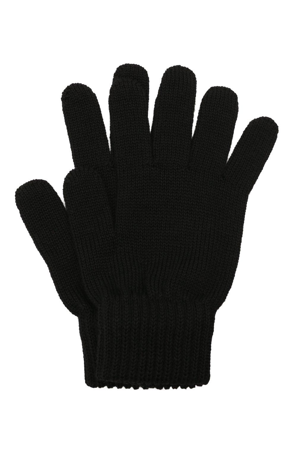 Детские шерстяные перчатки CATYA черного цвета, арт. 125545 | Фото 1 (Материал: Шерсть)