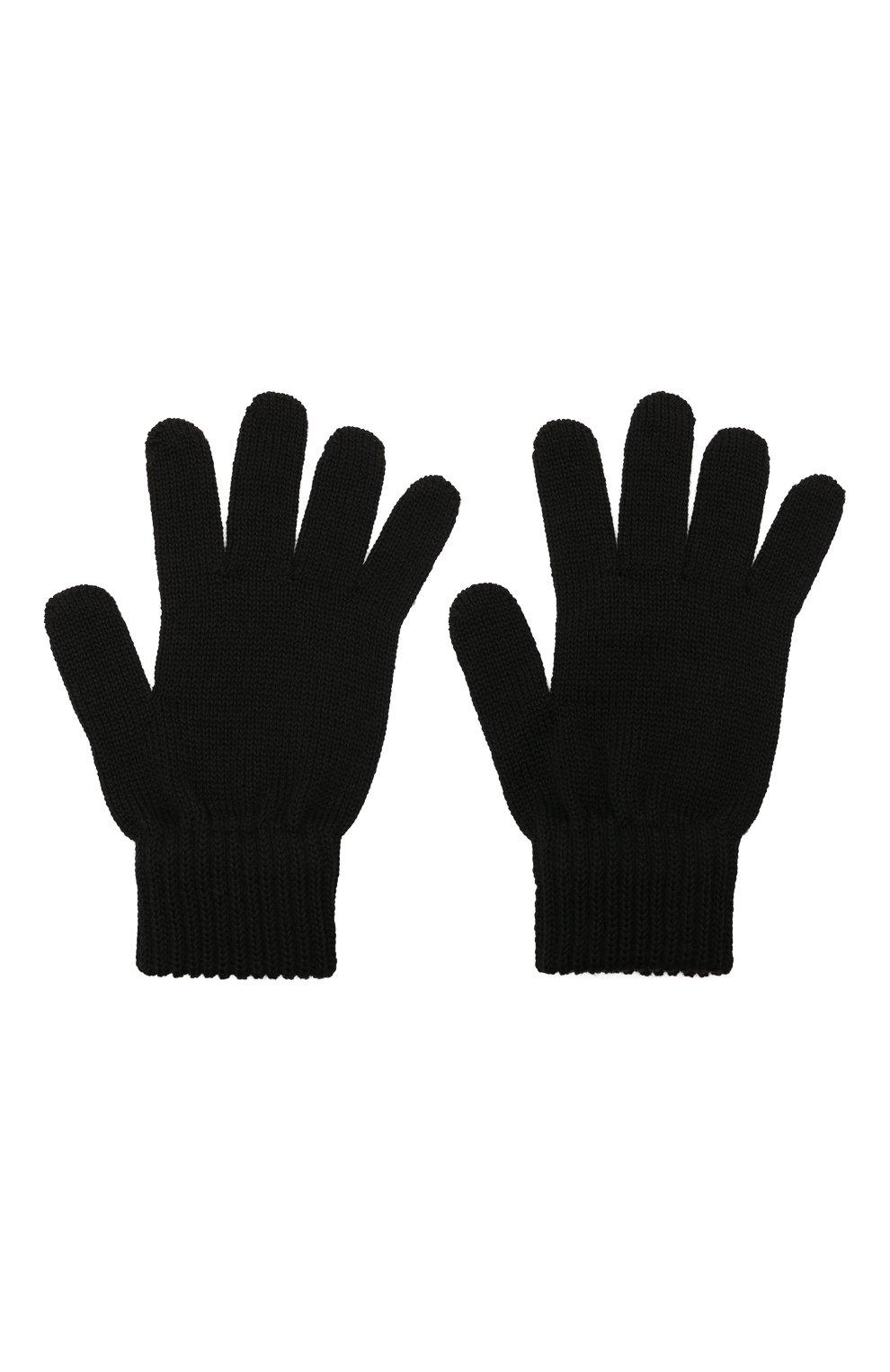 Детские шерстяные перчатки CATYA черного цвета, арт. 125545 | Фото 2 (Материал: Шерсть)