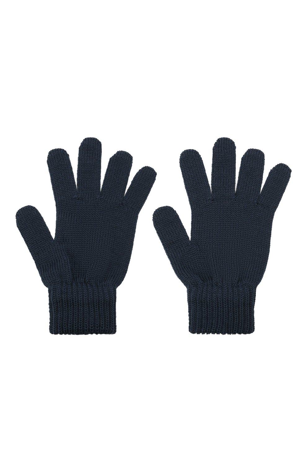 Детские шерстяные перчатки CATYA темно-синего цвета, арт. 125545 | Фото 2 (Материал: Шерсть)