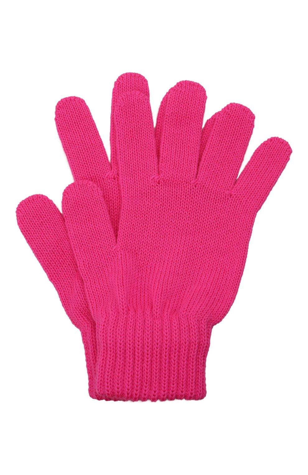 Детские шерстяные перчатки CATYA фуксия цвета, арт. 125545   Фото 1 (Материал: Шерсть)