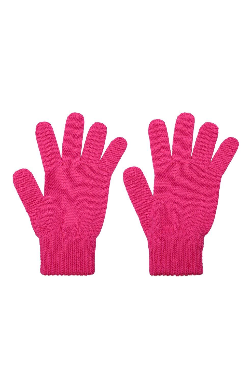 Детские шерстяные перчатки CATYA фуксия цвета, арт. 125545   Фото 2 (Материал: Шерсть)