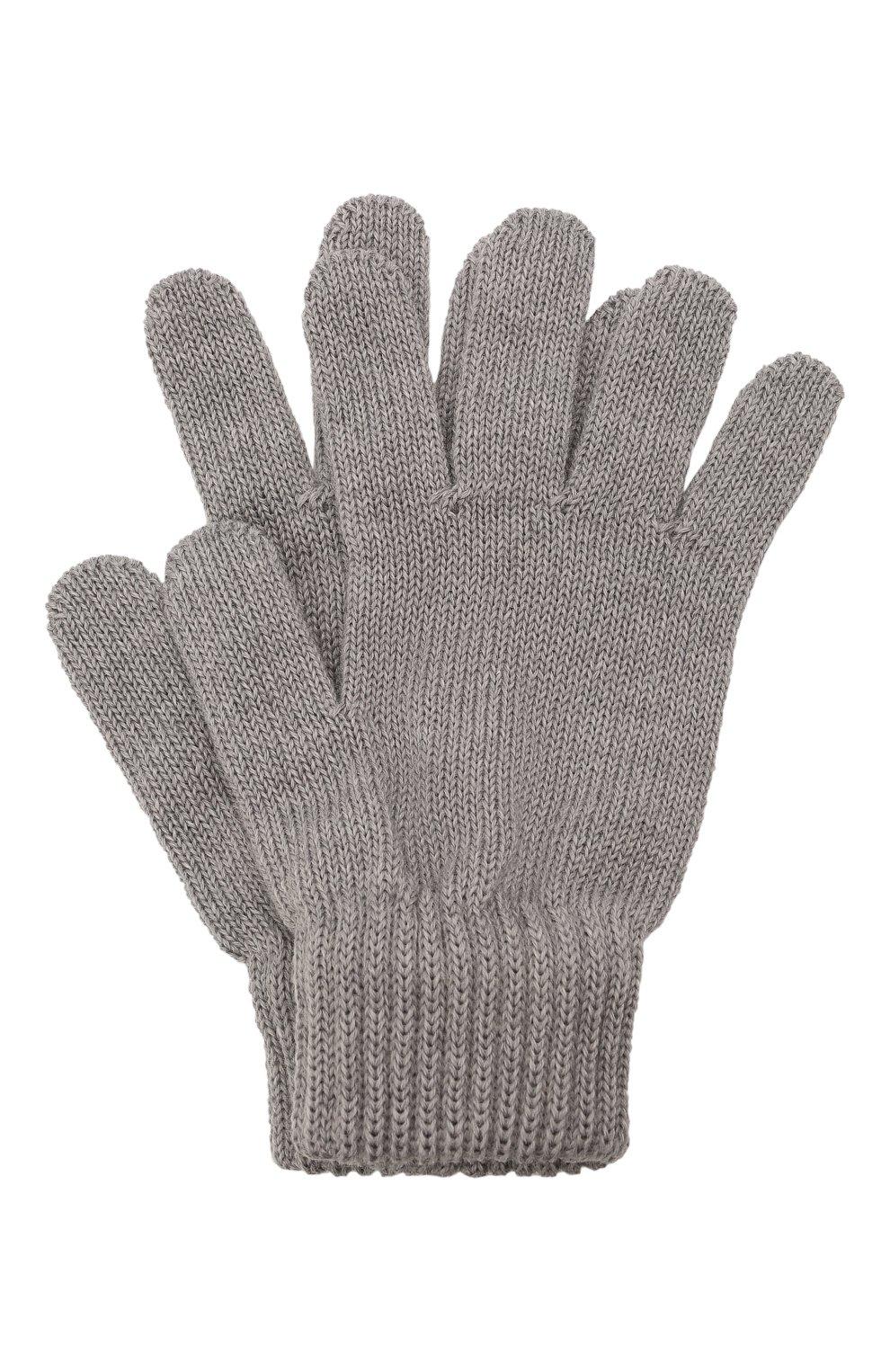 Детские шерстяные перчатки CATYA серого цвета, арт. 125545   Фото 1 (Материал: Шерсть)