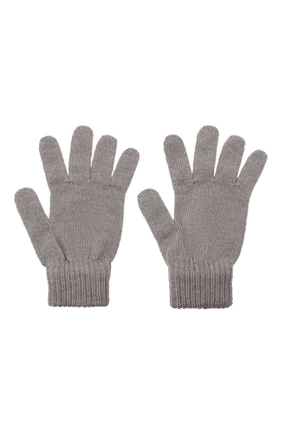 Детские шерстяные перчатки CATYA серого цвета, арт. 125545   Фото 2 (Материал: Шерсть)