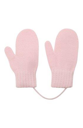 Детские шерстяные варежки CATYA розового цвета, арт. 125544 | Фото 2 (Материал: Шерсть)