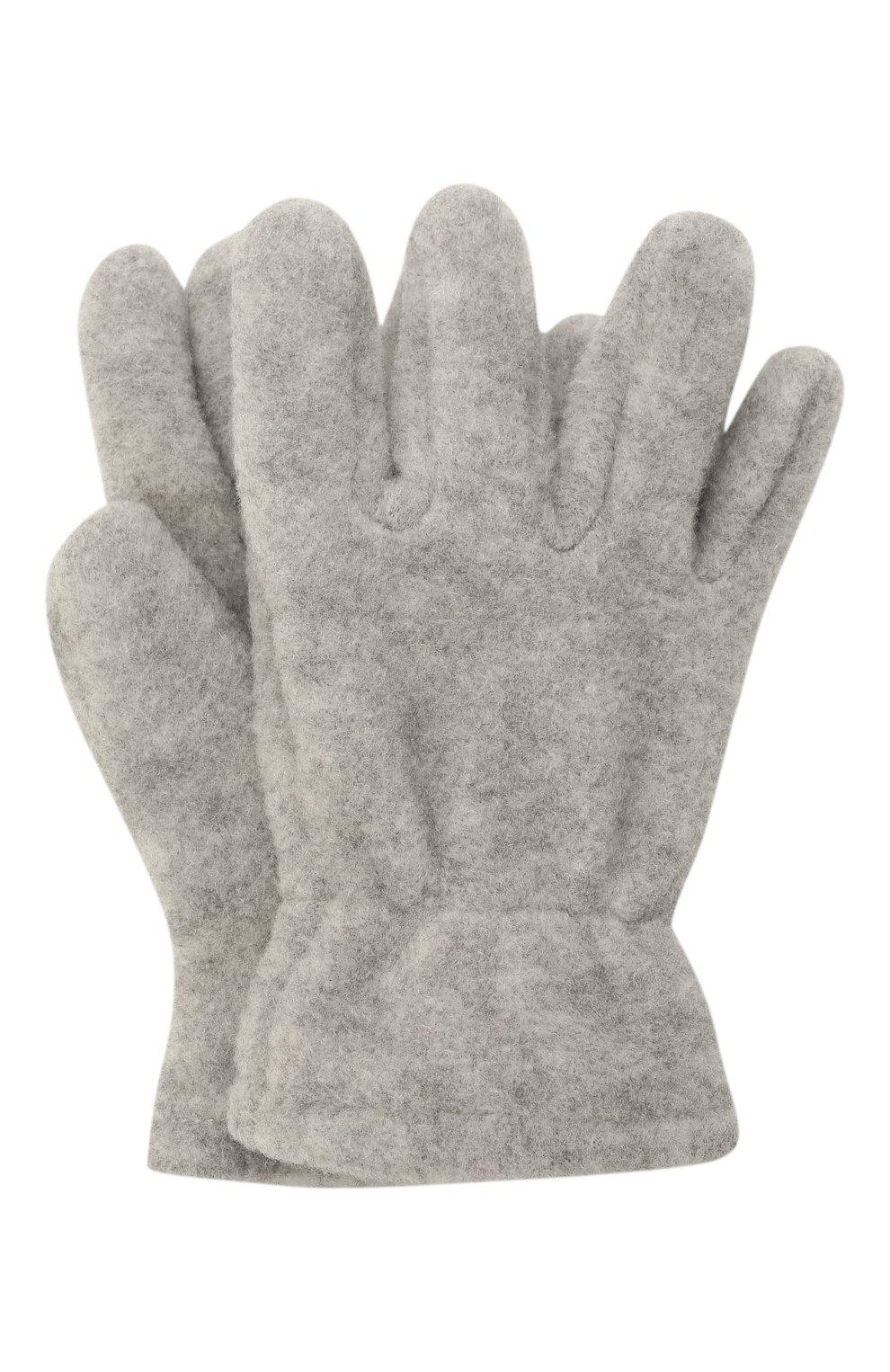 Детские перчатки CATYA серого цвета, арт. 125543 | Фото 1 (Материал: Текстиль, Синтетический материал)
