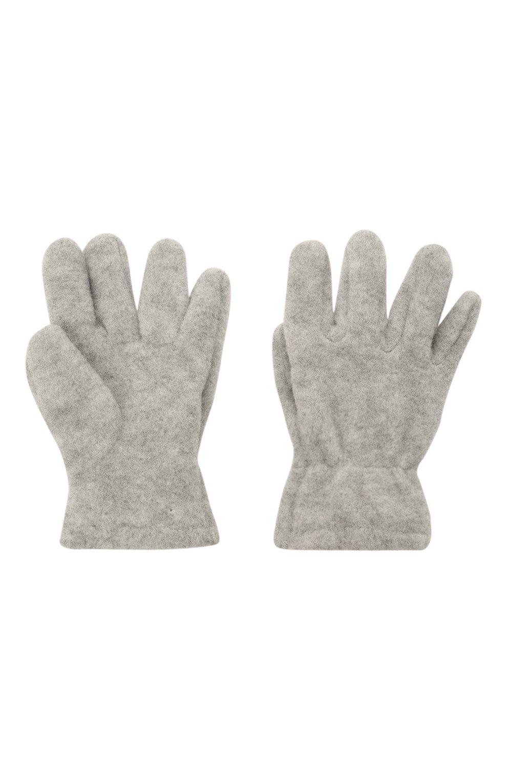 Детские перчатки CATYA серого цвета, арт. 125543 | Фото 2 (Материал: Текстиль, Синтетический материал)