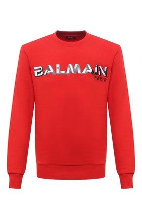 Мужской хлопковый свитшот BALMAIN красного цвета, арт. WH1JQ040/B139 | Фото 1