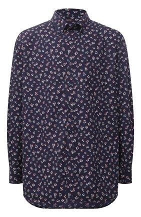 Мужская хлопковая рубашка PAUL&SHARK темно-синего цвета, арт. 11313120/C00 | Фото 1 (Материал внешний: Хлопок; Рукава: Длинные; Длина (для топов): Удлиненные; Воротник: Button down; Манжеты: На пуговицах; Рубашки М: Classic Fit; Принт: С принтом; Случай: Повседневный; Стили: Кэжуэл; Big sizes: Big Sizes)