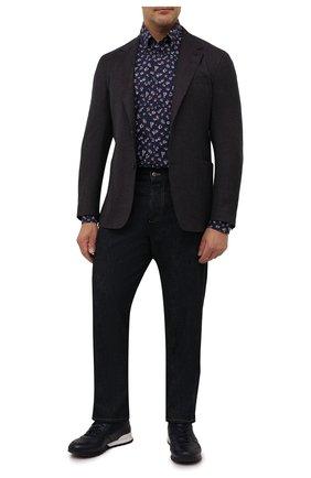 Мужская хлопковая рубашка PAUL&SHARK темно-синего цвета, арт. 11313120/C00 | Фото 2 (Материал внешний: Хлопок; Рукава: Длинные; Длина (для топов): Удлиненные; Воротник: Button down; Манжеты: На пуговицах; Рубашки М: Classic Fit; Принт: С принтом; Случай: Повседневный; Стили: Кэжуэл; Big sizes: Big Sizes)