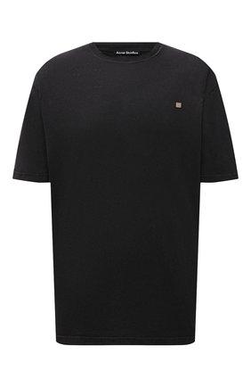 Мужская хлопковая футболка ACNE STUDIOS черного цвета, арт. CL0105/M | Фото 1 (Длина (для топов): Удлиненные; Материал внешний: Хлопок; Принт: Без принта; Рукава: Короткие; Стили: Минимализм)