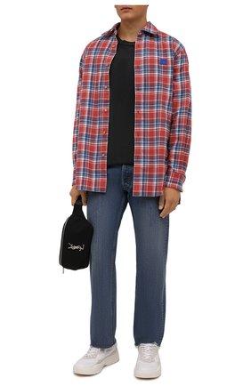 Мужская хлопковая футболка ACNE STUDIOS черного цвета, арт. CL0105/M | Фото 2 (Длина (для топов): Удлиненные; Материал внешний: Хлопок; Принт: Без принта; Рукава: Короткие; Стили: Минимализм)