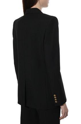 Женский шерстяной жакет SAINT LAURENT черного цвета, арт. 654667/Y404W   Фото 4 (Материал внешний: Шерсть; Рукава: Длинные; Длина (для топов): Стандартные, Удлиненные; Стили: Классический; Случай: Формальный; 1-2-бортные: Двубортные; Женское Кросс-КТ: Жакет-одежда; Материал подклада: Шелк)