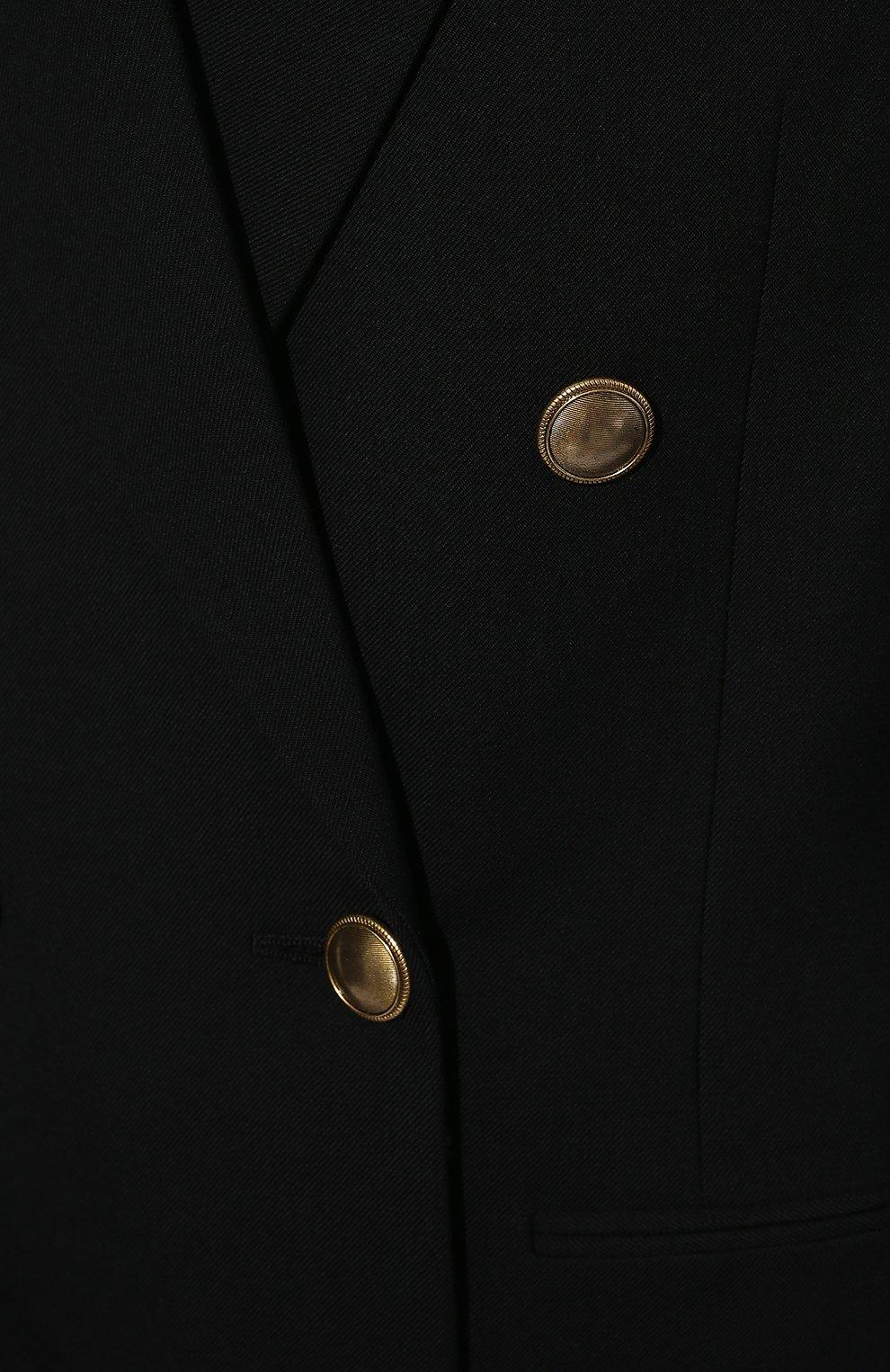 Женский шерстяной жакет SAINT LAURENT черного цвета, арт. 654667/Y404W   Фото 5 (Материал внешний: Шерсть; Рукава: Длинные; Длина (для топов): Стандартные, Удлиненные; Стили: Классический; Случай: Формальный; 1-2-бортные: Двубортные; Женское Кросс-КТ: Жакет-одежда; Материал подклада: Шелк)