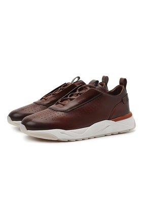 Мужские кожаные кроссовки SANTONI бордового цвета, арт. MBIM21611WTMTDYES20 | Фото 1