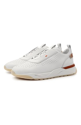 Мужские кожаные кроссовки SANTONI белого цвета, арт. MBIM21612WTMTDPAI55 | Фото 1
