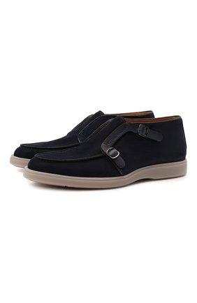 Мужские кожаные ботинки SANTONI темно-синего цвета, арт. MGDG17825TAAEGCXU59 | Фото 1