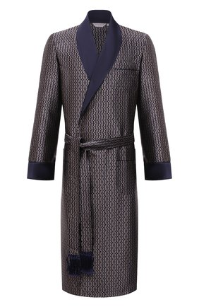 Мужской шелковый халат DEREK ROSE синего цвета, арт. 5535-VER0056 | Фото 1
