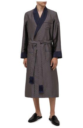 Мужской шелковый халат DEREK ROSE синего цвета, арт. 5535-VER0056 | Фото 2