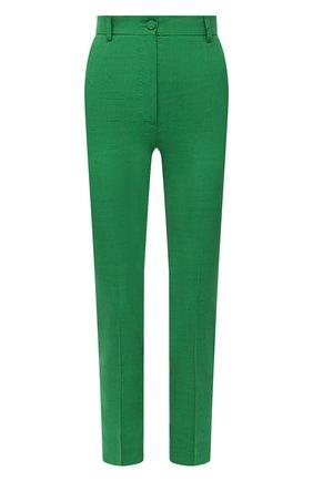 Женские брюки из шелка и хлопка DOLCE & GABBANA зеленого цвета, арт. FTAM2T/HUMCA   Фото 1