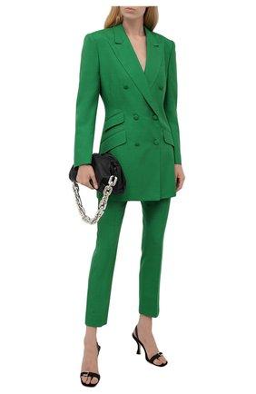Женские брюки из шелка и хлопка DOLCE & GABBANA зеленого цвета, арт. FTAM2T/HUMCA   Фото 2