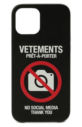 Чехол для iphone 12 pro max VETEMENTS черного цвета, арт. UA52SA400B 2410/W/BLACK 12 PR0 MAX | Фото 1