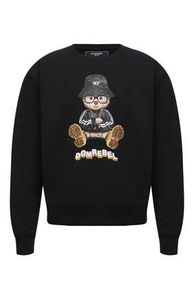 Мужской хлопковый свитшот DOMREBEL черного цвета, арт. MNY BEAR/SWEATSHIRT | Фото 1