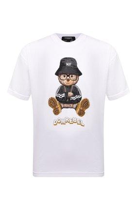 Мужская хлопковая футболка DOMREBEL белого цвета, арт. MNY BEAR/B0X T | Фото 1 (Длина (для топов): Стандартные; Материал внешний: Хлопок; Рукава: Короткие; Принт: С принтом; Стили: Гранж)