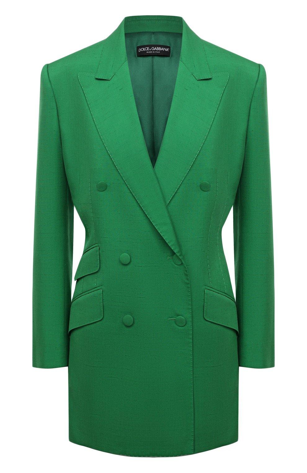 Женский жакет из шелка и хлопка DOLCE & GABBANA зеленого цвета, арт. F29JWT/HUMCA   Фото 1 (Материал внешний: Шелк, Хлопок; Рукава: Длинные; Длина (для топов): Удлиненные; Стили: Классический; Случай: Формальный; 1-2-бортные: Двубортные; Женское Кросс-КТ: Жакет-одежда; Материал подклада: Шелк)