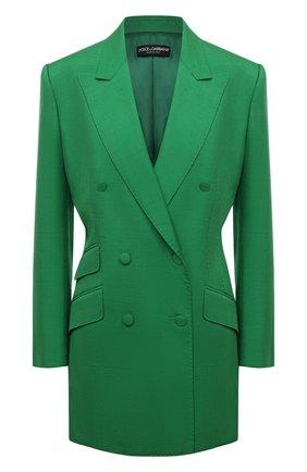 Женский жакет из шелка и хлопка DOLCE & GABBANA зеленого цвета, арт. F29JWT/HUMCA   Фото 1