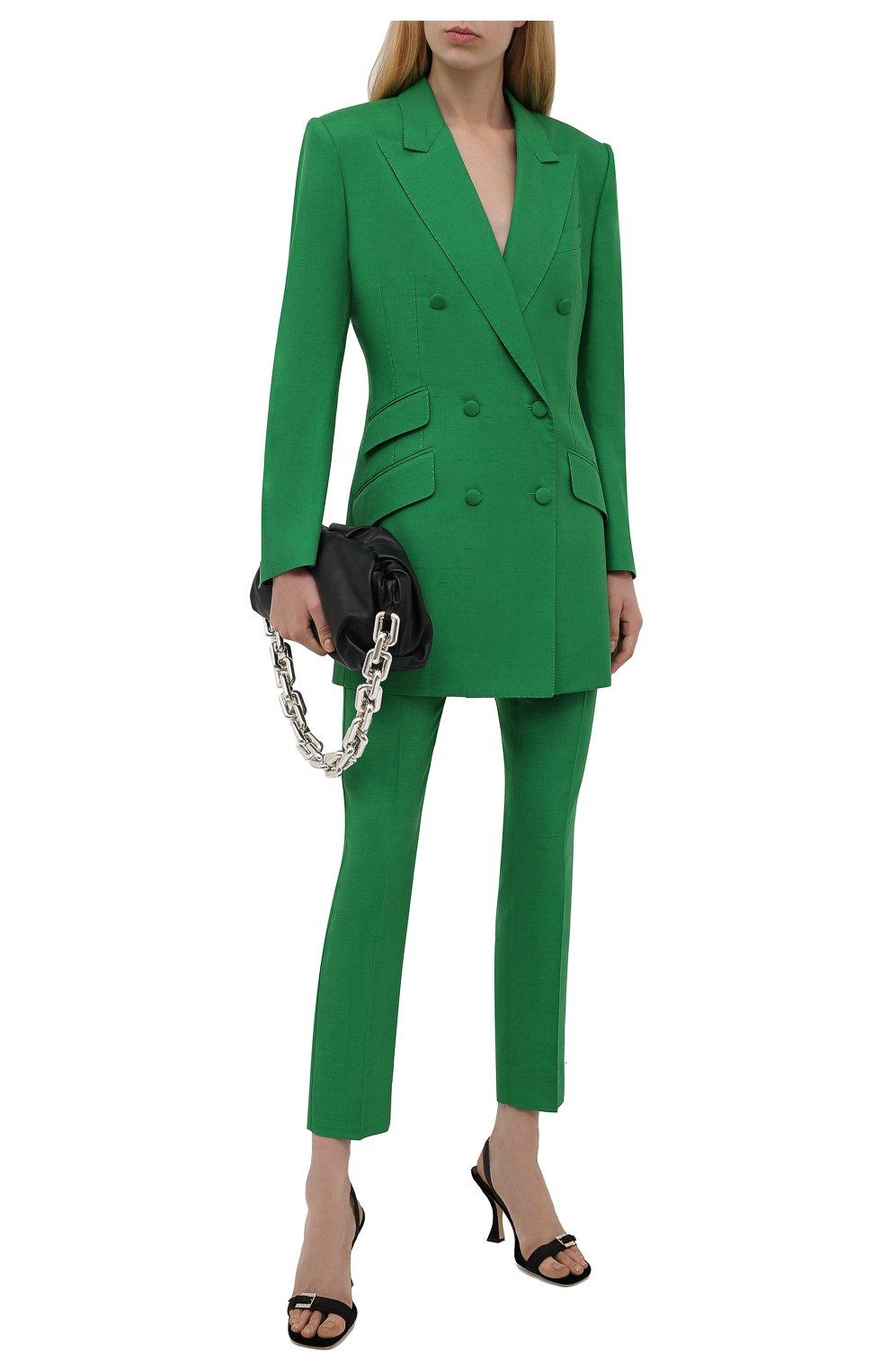 Женский жакет из шелка и хлопка DOLCE & GABBANA зеленого цвета, арт. F29JWT/HUMCA   Фото 2 (Материал внешний: Шелк, Хлопок; Рукава: Длинные; Длина (для топов): Удлиненные; Стили: Классический; Случай: Формальный; 1-2-бортные: Двубортные; Женское Кросс-КТ: Жакет-одежда; Материал подклада: Шелк)