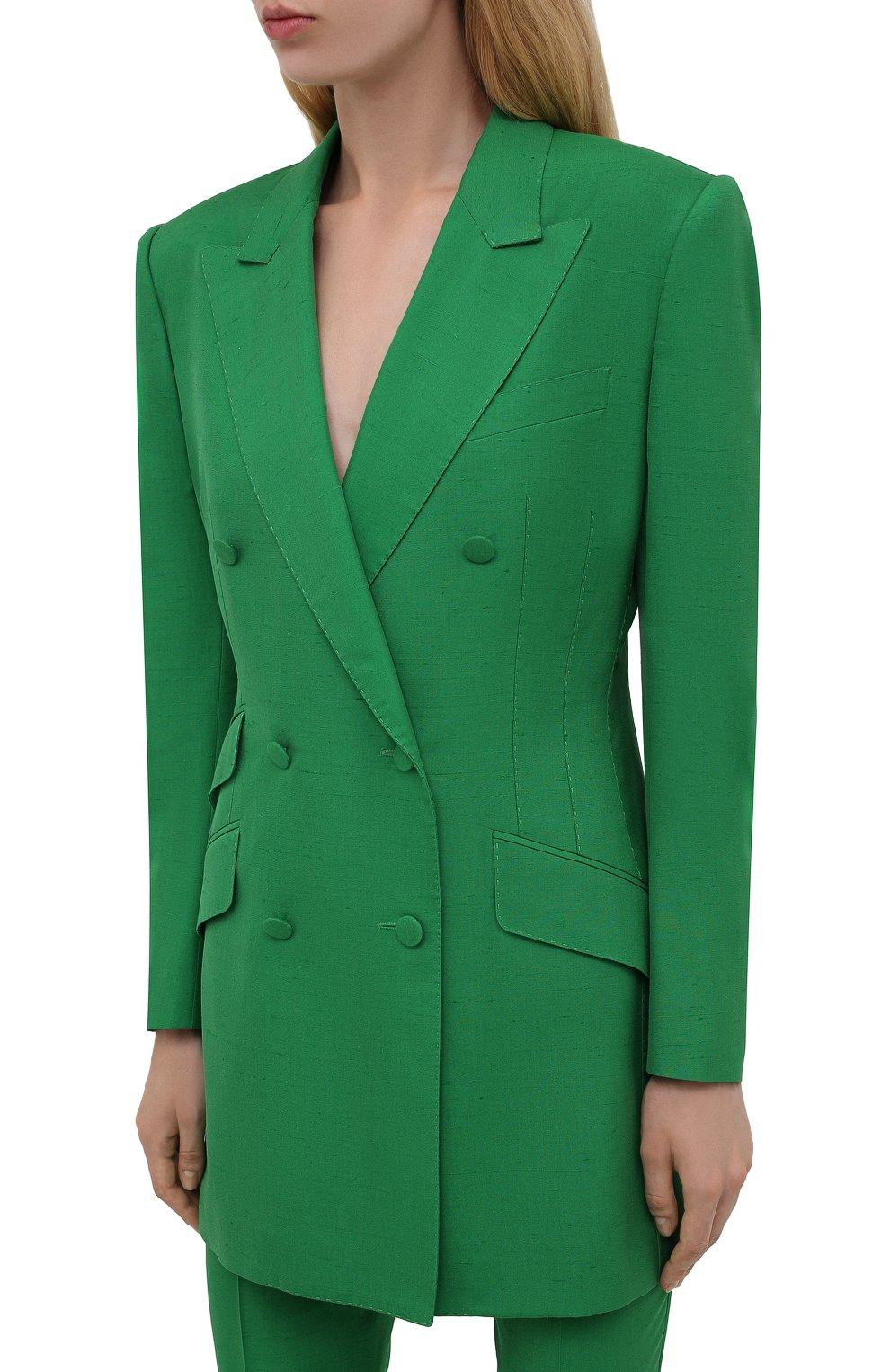 Женский жакет из шелка и хлопка DOLCE & GABBANA зеленого цвета, арт. F29JWT/HUMCA   Фото 3 (Материал внешний: Шелк, Хлопок; Рукава: Длинные; Длина (для топов): Удлиненные; Стили: Классический; Случай: Формальный; 1-2-бортные: Двубортные; Женское Кросс-КТ: Жакет-одежда; Материал подклада: Шелк)