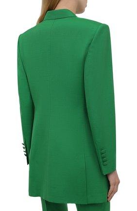 Женский жакет из шелка и хлопка DOLCE & GABBANA зеленого цвета, арт. F29JWT/HUMCA   Фото 4 (Материал внешний: Шелк, Хлопок; Рукава: Длинные; Длина (для топов): Удлиненные; Стили: Классический; Случай: Формальный; 1-2-бортные: Двубортные; Женское Кросс-КТ: Жакет-одежда; Материал подклада: Шелк)