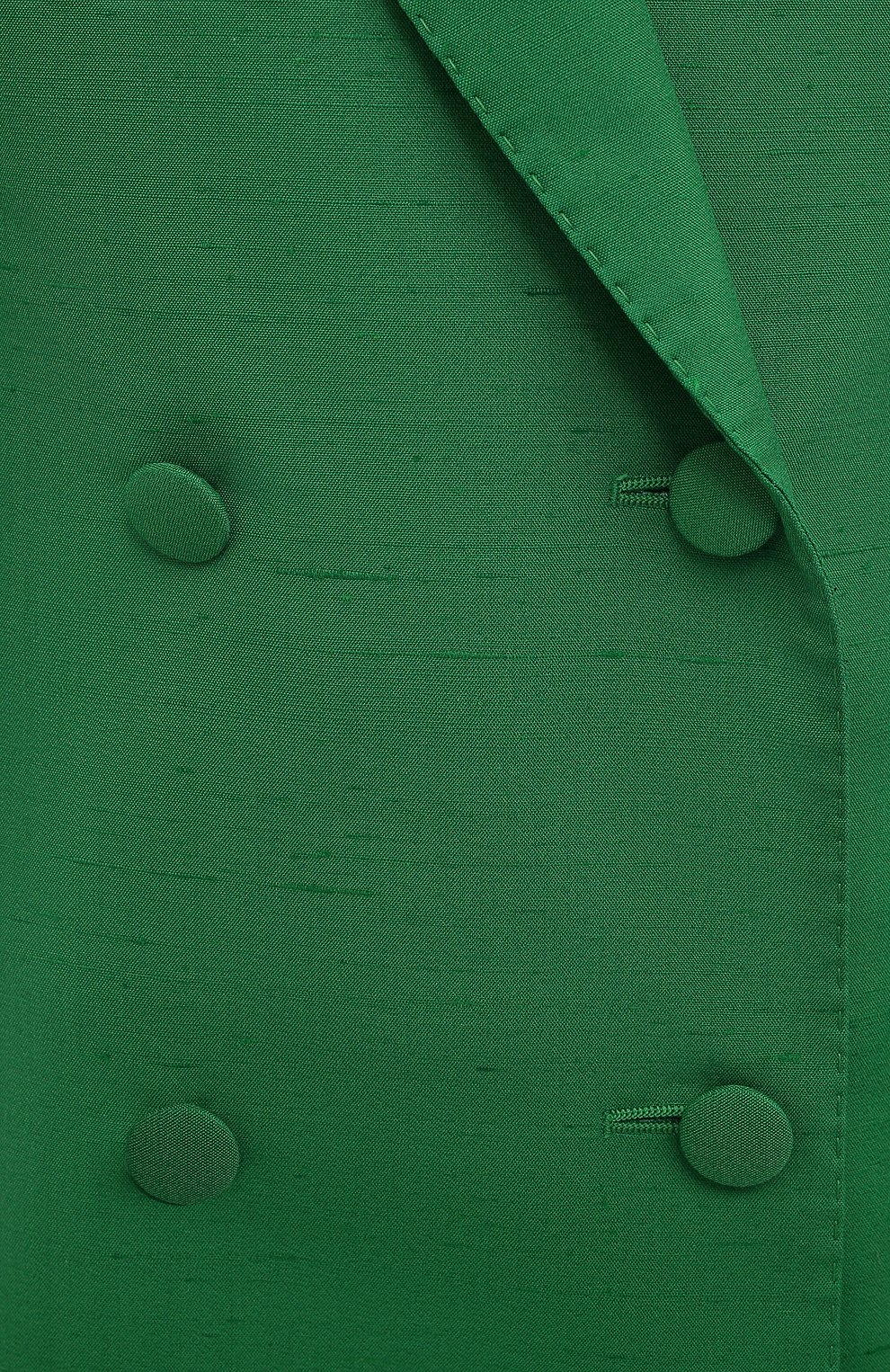 Женский жакет из шелка и хлопка DOLCE & GABBANA зеленого цвета, арт. F29JWT/HUMCA   Фото 5 (Материал внешний: Шелк, Хлопок; Рукава: Длинные; Длина (для топов): Удлиненные; Стили: Классический; Случай: Формальный; 1-2-бортные: Двубортные; Женское Кросс-КТ: Жакет-одежда; Материал подклада: Шелк)