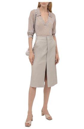 Женская юбка из вискозы STELLA MCCARTNEY светло-серого цвета, арт. 603689/SKB20 | Фото 2 (Длина Ж (юбки, платья, шорты): Миди; Материал внешний: Вискоза; Женское Кросс-КТ: Юбка-одежда; Стили: Кэжуэл)