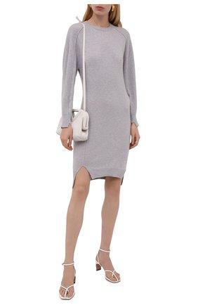 Женское шерстяное платье STELLA MCCARTNEY серого цвета, арт. 603688/S2254 | Фото 2 (Длина Ж (юбки, платья, шорты): Мини; Материал внешний: Шерсть; Рукава: Длинные; Женское Кросс-КТ: Платье-одежда; Случай: Повседневный; Стили: Кэжуэл; Кросс-КТ: Трикотаж)