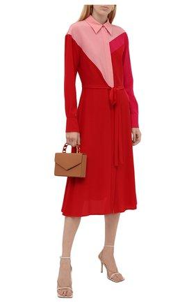 Женское шелковое платье STELLA MCCARTNEY красного цвета, арт. 603675/SY206 | Фото 2 (Материал внешний: Шелк; Рукава: Длинные; Длина Ж (юбки, платья, шорты): Миди; Женское Кросс-КТ: Платье-одежда; Случай: Повседневный; Стили: Кэжуэл)