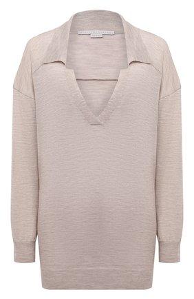 Женский шерстяной пуловер STELLA MCCARTNEY бежевого цвета, арт. 603644/S2257 | Фото 1 (Материал внешний: Шерсть; Рукава: Длинные; Длина (для топов): Стандартные; Женское Кросс-КТ: Пуловер-одежда; Стили: Кэжуэл)