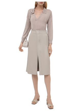 Женский шерстяной пуловер STELLA MCCARTNEY бежевого цвета, арт. 603644/S2257 | Фото 2 (Материал внешний: Шерсть; Рукава: Длинные; Длина (для топов): Стандартные; Женское Кросс-КТ: Пуловер-одежда; Стили: Кэжуэл)