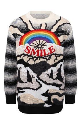 Женский свитер из шерсти и хлопка STELLA MCCARTNEY разноцветного цвета, арт. 602887/S2238 | Фото 1 (Материал внешний: Хлопок, Шерсть; Женское Кросс-КТ: Свитер-одежда; Стили: Кэжуэл; Рукава: Длинные; Длина (для топов): Стандартные)