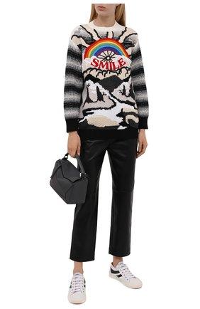 Женский свитер из шерсти и хлопка STELLA MCCARTNEY разноцветного цвета, арт. 602887/S2238 | Фото 2 (Материал внешний: Хлопок, Шерсть; Женское Кросс-КТ: Свитер-одежда; Стили: Кэжуэл; Рукава: Длинные; Длина (для топов): Стандартные)