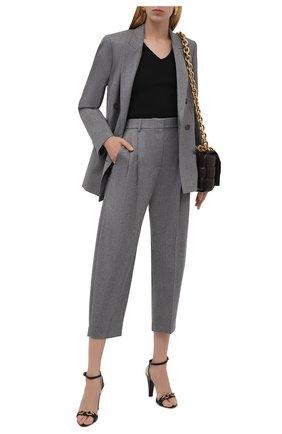 Женские шерстяные брюки STELLA MCCARTNEY светло-серого цвета, арт. 591964/SNB53 | Фото 2 (Материал внешний: Шерсть; Случай: Формальный; Силуэт Ж (брюки и джинсы): Прямые; Стили: Классический; Длина (брюки, джинсы): Укороченные; Женское Кросс-КТ: Брюки-одежда)