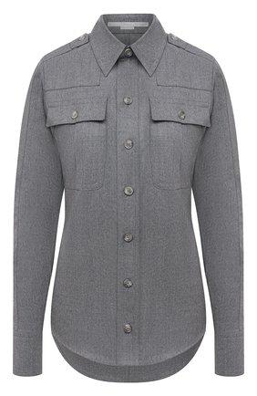 Женская шерстяная рубашка STELLA MCCARTNEY светло-серого цвета, арт. 583654/SNB53   Фото 1 (Материал внешний: Шерсть; Женское Кросс-КТ: Рубашка-одежда; Принт: Без принта; Стили: Кэжуэл; Рукава: Длинные; Длина (для топов): Стандартные)