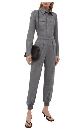 Женская шерстяная рубашка STELLA MCCARTNEY светло-серого цвета, арт. 583654/SNB53   Фото 2 (Материал внешний: Шерсть; Женское Кросс-КТ: Рубашка-одежда; Принт: Без принта; Стили: Кэжуэл; Рукава: Длинные; Длина (для топов): Стандартные)