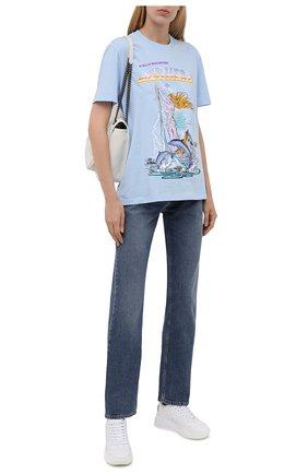 Женская хлопковая футболка STELLA MCCARTNEY голубого цвета, арт. 381701/S0W83 | Фото 2 (Материал внешний: Хлопок; Рукава: Короткие; Длина (для топов): Стандартные; Принт: С принтом; Женское Кросс-КТ: Футболка-одежда; Стили: Гранж)