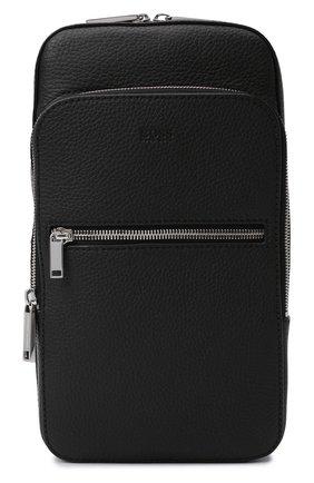 Мужской кожаный рюкзак BOSS черного цвета, арт. 50462133 | Фото 1 (Материал: Натуральная кожа; Ремень/цепочка: На ремешке)
