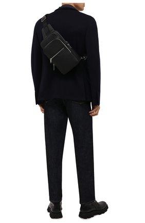Мужской кожаный рюкзак BOSS черного цвета, арт. 50462133 | Фото 2 (Материал: Натуральная кожа; Ремень/цепочка: На ремешке)