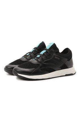 Мужские комбинированные кроссовки BOSS черного цвета, арт. 50455539 | Фото 1 (Материал внешний: Текстиль; Стили: Спорт; Подошва: Массивная)