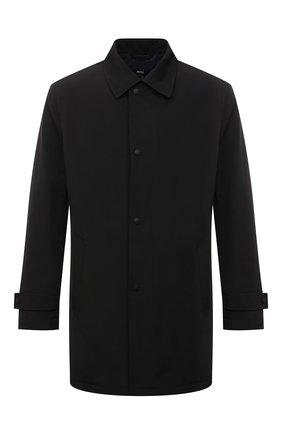Мужской плащ BOSS черного цвета, арт. 50457490 | Фото 1 (Рукава: Длинные; Длина (верхняя одежда): До середины бедра; Материал внешний: Синтетический материал; Мужское Кросс-КТ: Плащ-верхняя одежда; Стили: Классический)