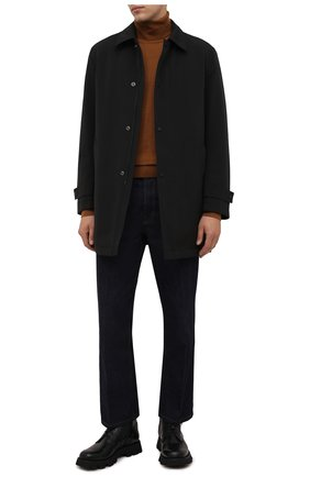 Мужской плащ BOSS черного цвета, арт. 50457490 | Фото 2 (Рукава: Длинные; Длина (верхняя одежда): До середины бедра; Материал внешний: Синтетический материал; Мужское Кросс-КТ: Плащ-верхняя одежда; Стили: Классический)